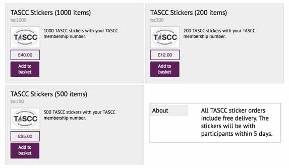 TASCC Stickers prices