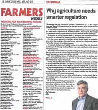 Image for Why agriculture needs smarter regulation - Farmers Weekly Article 19 June 2015