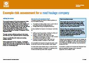 Image for Health and Safety Haulage Risk Assessment (HSE)